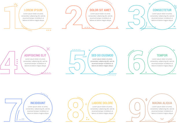 Linear Numbers with Place for your Text Set of line numbers with place for your text, can be used as steps, options, process design, workflow, vector eps10 illustration numbers stock illustrations