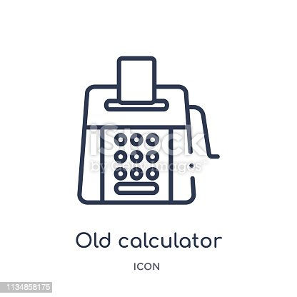 istock Linear old calculator icon from Measurement outline collection. Thin line old calculator icon isolated on white background. old calculator trendy illustration 1134858175