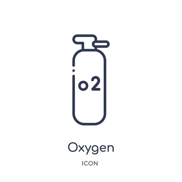 lineare sauerstoffsymbol aus der branchensammlung. dünne linie sauerstoffsymbol auf weißem hintergrund isoliert. sauerstofftrendige illustration - sauerstoff stock-grafiken, -clipart, -cartoons und -symbole