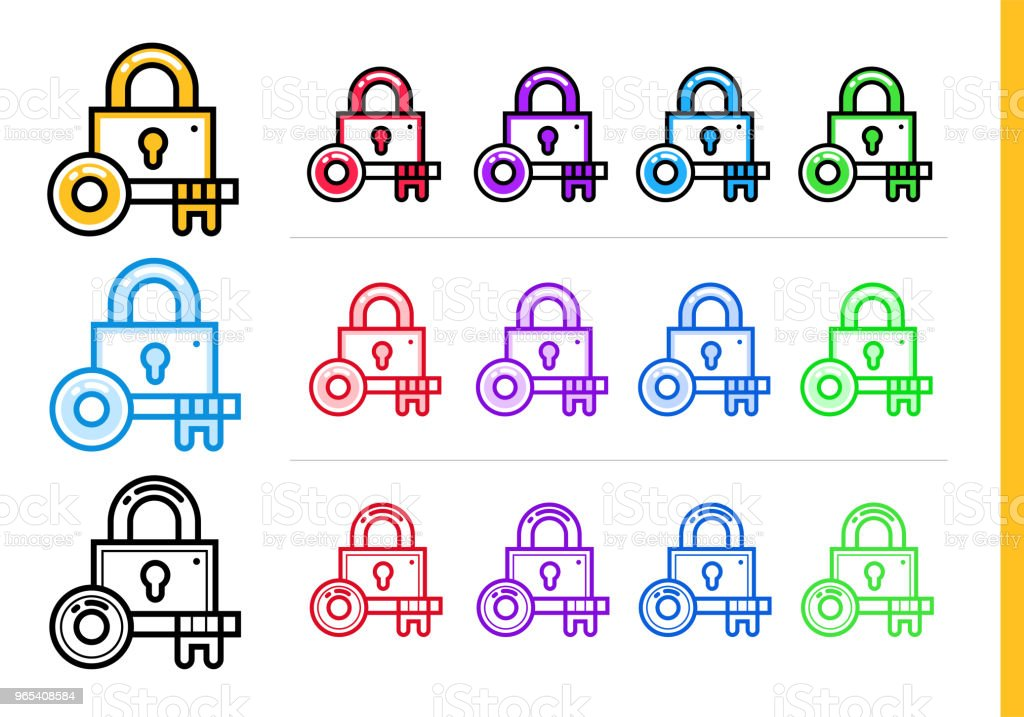 Linear padlock icon for startup business in different colors. Vector elements for website, mobile application linear padlock icon for startup business in different colors vector elements for website mobile application - stockowe grafiki wektorowe i więcej obrazów bez ludzi royalty-free