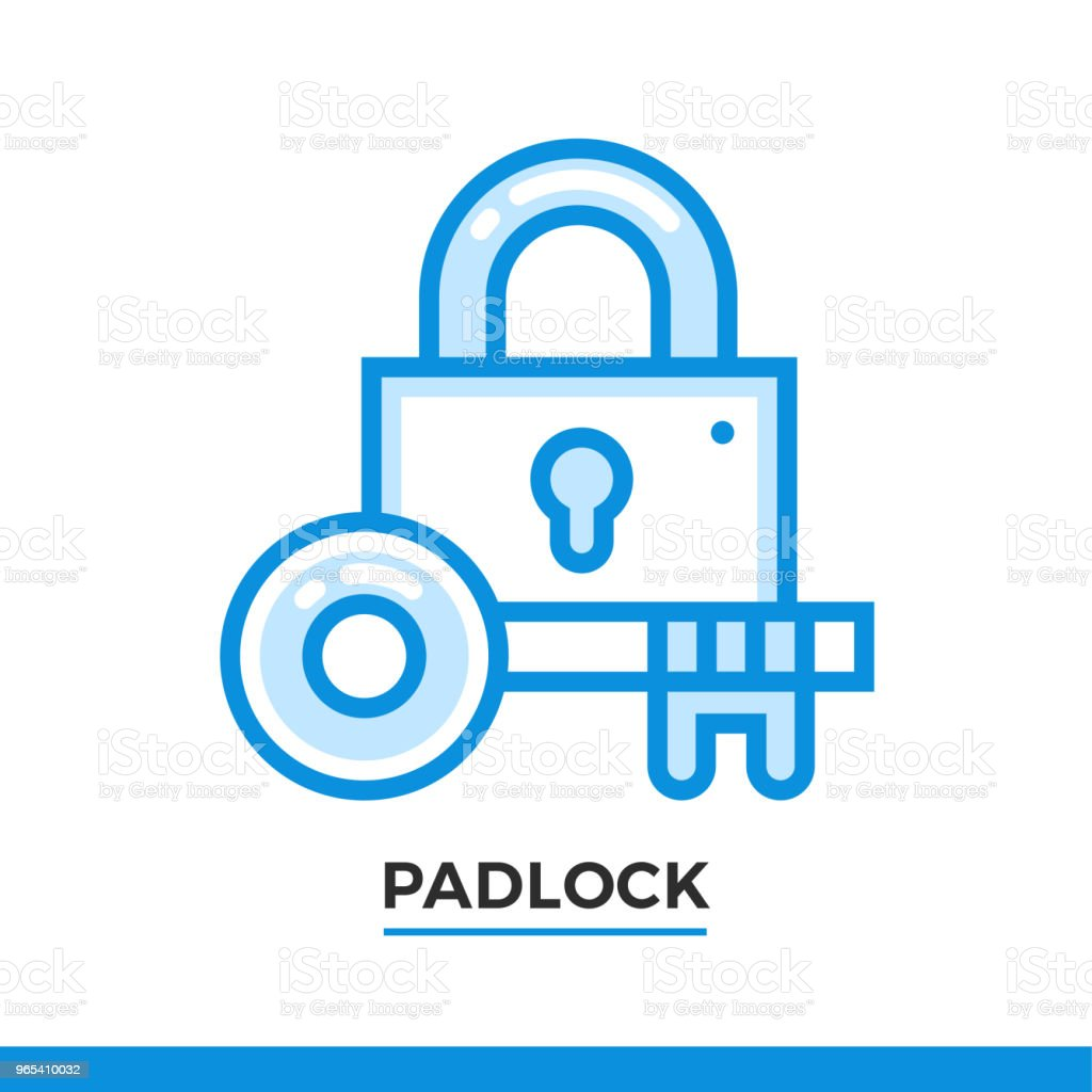 Linear padlock icon. Pictogram in outline style. Vector modern flat design element for mobile application and web design. linear padlock icon pictogram in outline style vector modern flat design element for mobile application and web design - stockowe grafiki wektorowe i więcej obrazów bez ludzi royalty-free