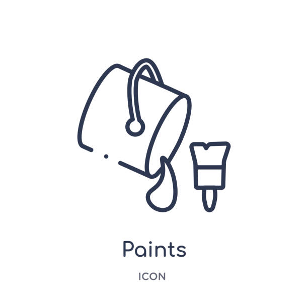 Linear paints icon from Art outline collection. Thin line paints icon isolated on white background. paints trendy illustration Linear paints icon from Art outline collection. Thin line paints icon isolated on white background. paints trendy illustration paint can stock illustrations