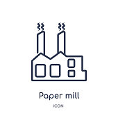 Linear paper mill icon from General outline collection. Thin line paper mill icon isolated on white background. paper mill trendy illustration