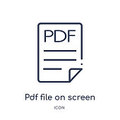 Linear pdf file on screen icon from Education outline collection. Thin line pdf file on screen icon isolated on white background. pdf file on screen trendy illustration