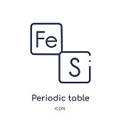 Linear periodic table icon from Education outline collection. Thin line periodic table vector isolated on white background. periodic table trendy illustration
