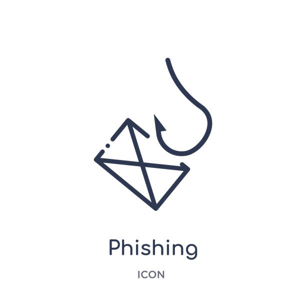 illustrazioni stock, clip art, cartoni animati e icone di tendenza di linear phishing icon from internet security and networking outline collection. thin line phishing icon isolated on white background. phishing trendy illustration - phishing