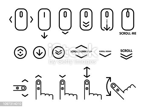 Linear pictogram of scroll down. Scroll down up computer mouse icon for website, web design, mobile apps. Vector illustration.