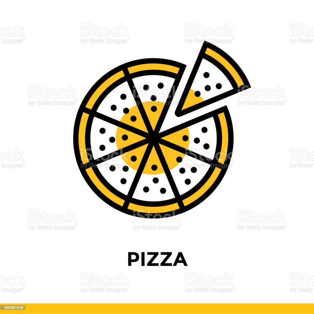 Linear PIZZA icon. Vector elements suitable for website and presentation royalty-free linear pizza icon vector elements suitable for website and presentation stock vector art & more images of bakery