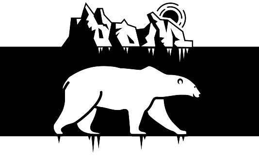 Linear polar bear image with iceberg in sea on background. Sketch style.