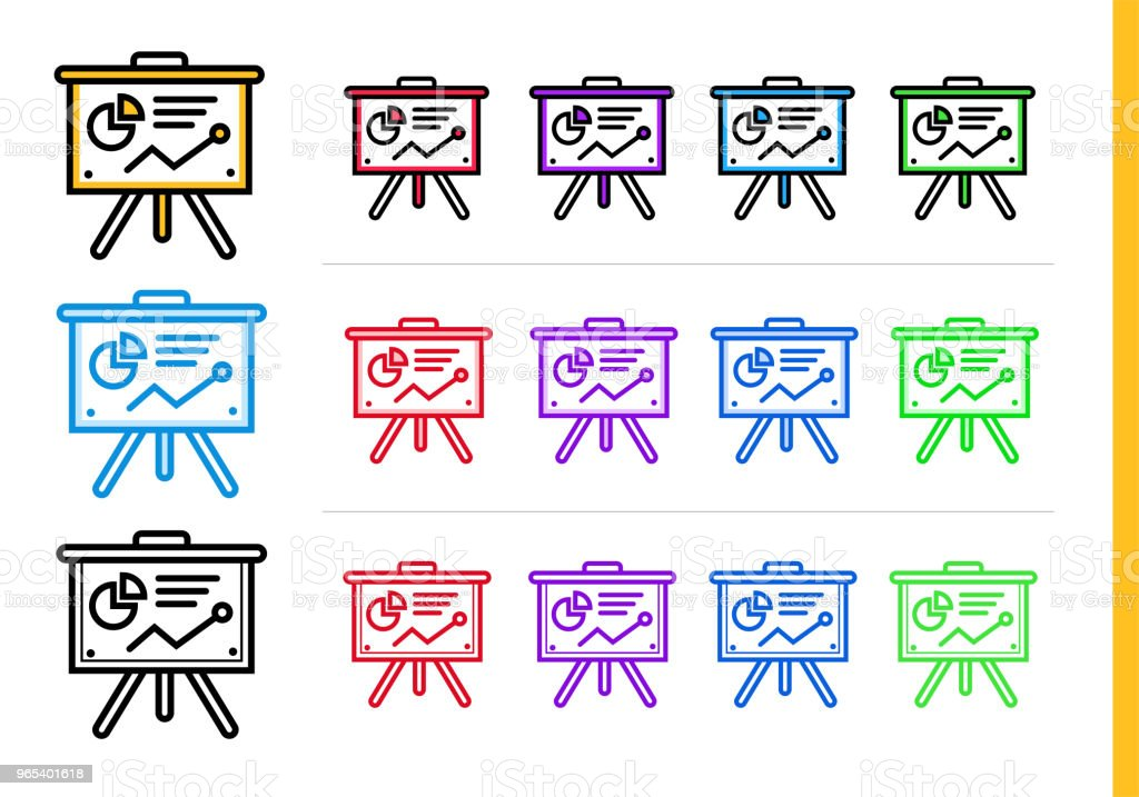 다른 색상으로 시작 비즈니스에 대 한 선형 프레 젠 테이 션 아이콘. 웹사이트, 모바일 응용 프로그램에 대 한 벡터 요소 - 로열티 프리 0명 벡터 아트