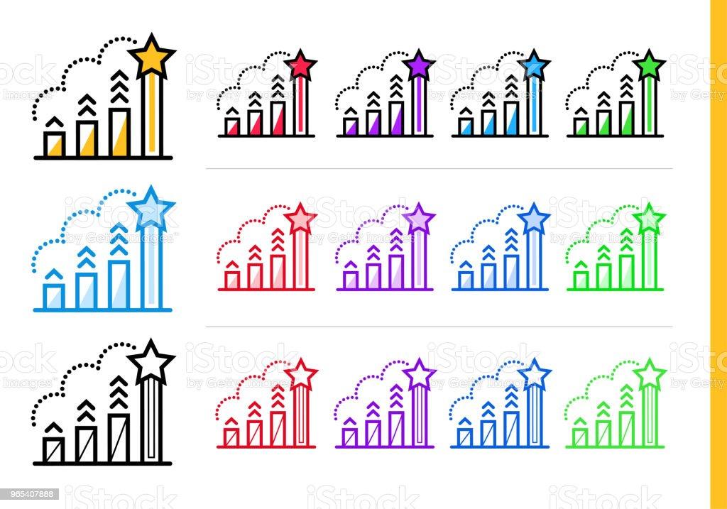다른 색상으로 시작 비즈니스에 대 한 선형 순위 아이콘. 웹사이트, 모바일 응용 프로그램에 대 한 벡터 요소 - 로열티 프리 0명 벡터 아트