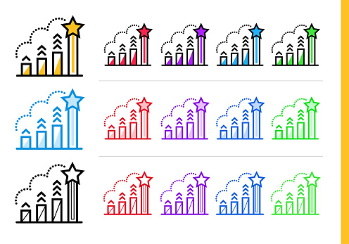 다른 색상으로 시작 비즈니스에 대 한 선형 순위 아이콘 웹사이트 모바일 응용 프로그램에 대 한 벡터 요소 0명에 대한 스톡 벡터 아트 및 기타 이미지