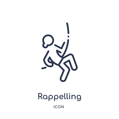 Linear rappelling icon from Activity and hobbies outline collection. Thin line rappelling vector isolated on white background. rappelling trendy illustration