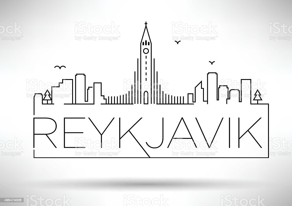 Linear Reykjavik City Silhouette with Typographic Design vector art illustration