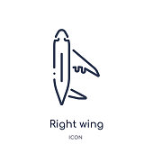 Linear right wing icon from Airport terminal outline collection. Thin line right wing vector isolated on white background. right wing trendy illustration