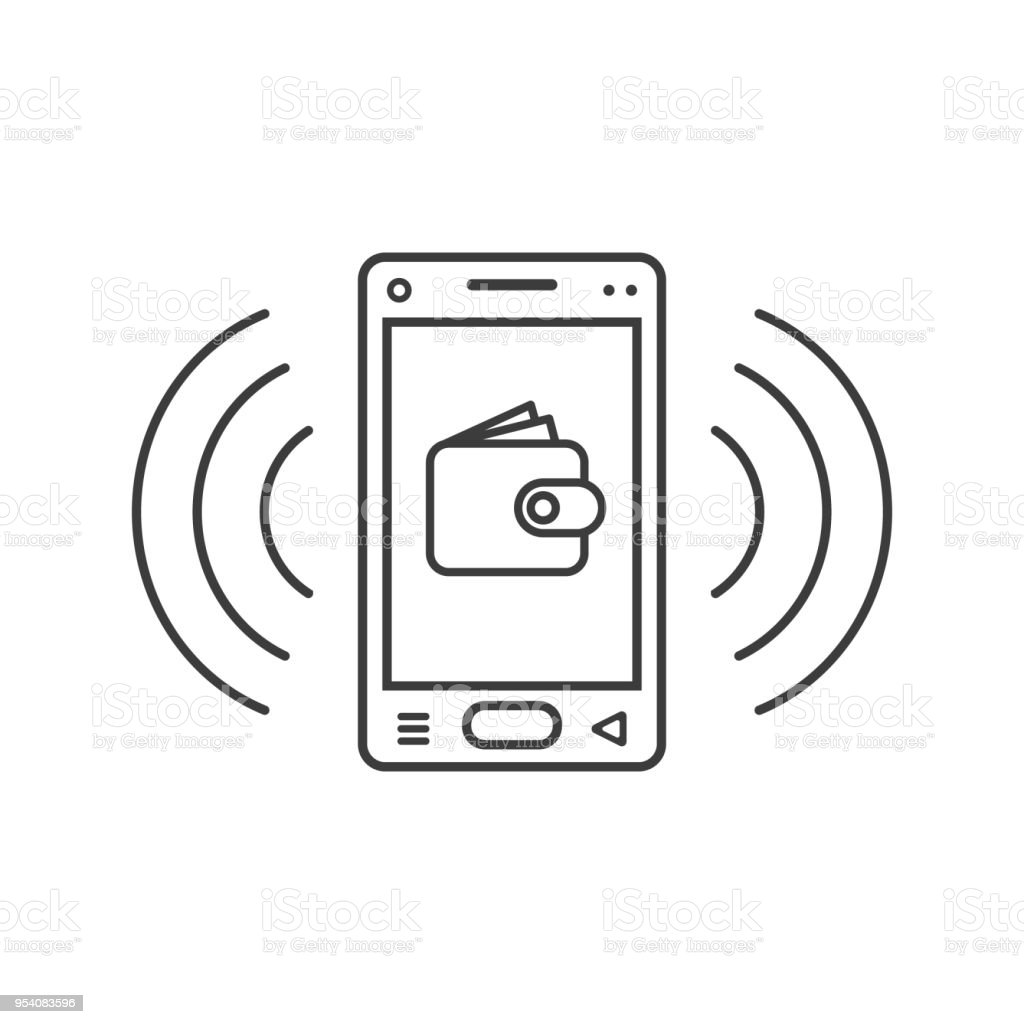 linear ringing smartphone icon with wallet sign
