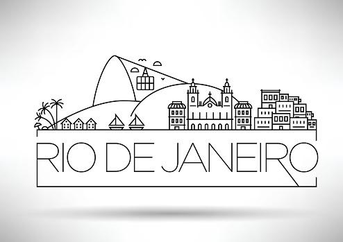 Linear Rio de Janeiro City, Brazil Silhouette with Typography
