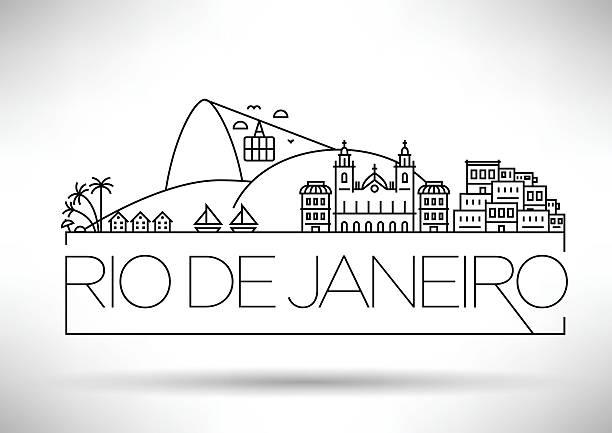 ilustrações de stock, clip art, desenhos animados e ícones de linear cidade do rio de janeiro, brasil silhueta com tipografia - rio de janeiro