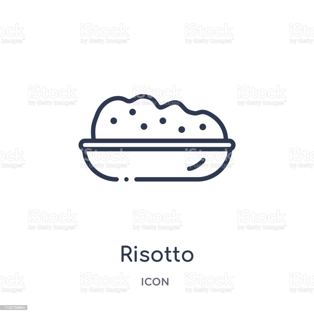 Icône de risotto linéaire de la collection de contour alimentaire. L'icône de risotto de ligne mince a isolé sur le fond blanc. illustration à la mode de risotto - clipart vectoriel de Aliment libre de droits