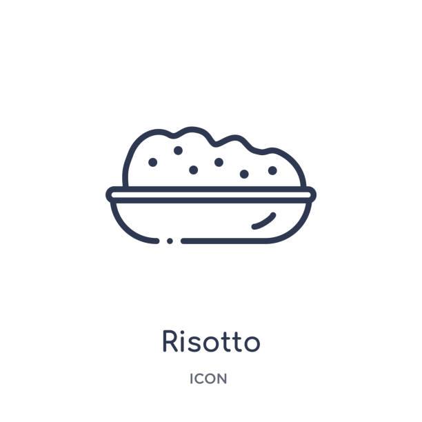 illustrations, cliparts, dessins animés et icônes de icône de risotto linéaire de la collection de contour alimentaire. l'icône de risotto de ligne mince a isolé sur le fond blanc. illustration à la mode de risotto - risotto