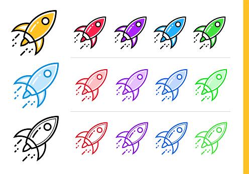 다른 색상으로 시작 비즈니스에 대 한 선형 로켓 아이콘 웹사이트 모바일 응용 프로그램에 대 한 벡터 요소 0명에 대한 스톡 벡터 아트 및 기타 이미지
