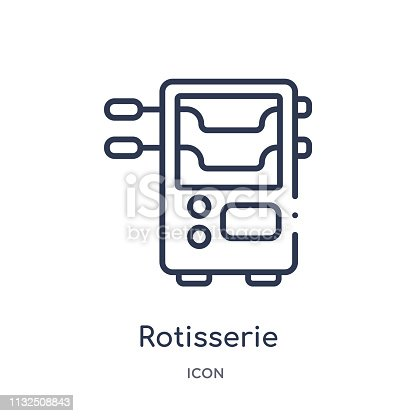 Linear rotisserie icon from Electronic devices outline collection. Thin line rotisserie vector isolated on white background. rotisserie trendy illustration
