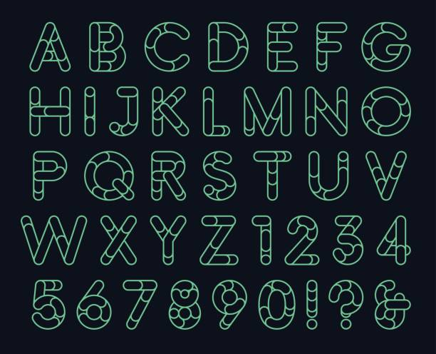Linear rounded decorative font vector art illustration