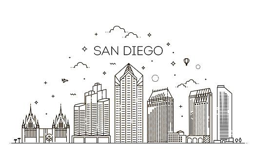 Linear San Diego city skyline vector background