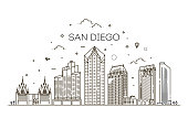 San Diego California city skyline vector background. Flat vector illustration. Vector