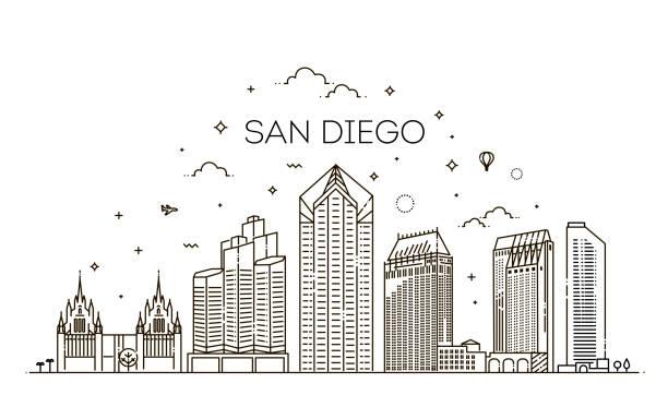 Lineare San Diego Stadt Skyline Vektor Hintergrund – Vektorgrafik