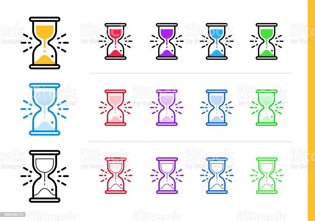 Linear sand clock icon for startup business in different colors. Vector elements suitable for website, mobile application and presentation linear sand clock icon for startup business in different colors vector elements suitable for website mobile application and presentation - stockowe grafiki wektorowe i więcej obrazów bez ludzi royalty-free
