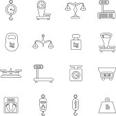 Linear scales and weight vector icons set