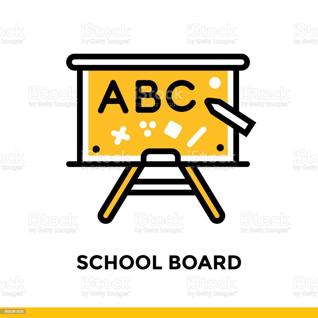 Linear SCHOOL BOARD  icon for education. Pictogram in outline style. Vector modern flat design element for mobile application and web design royalty-free linear school board icon for education pictogram in outline style vector modern flat design element for mobile application and web design stock vector art & more images of design