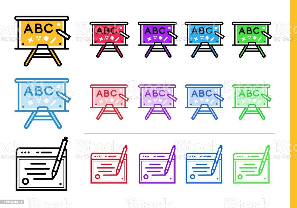教育的線性學校板圖示。適用于資訊圖形、列印介質和介面的向量線條圖示 - 免版稅外型圖庫向量圖形