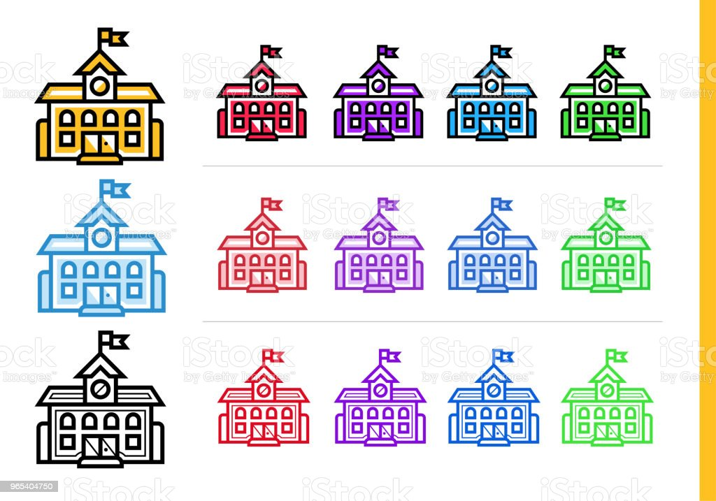Linear SCHOOL building icon for education. Vector line icons suitable for info graphics, print media and interfaces royalty-free linear school building icon for education vector line icons suitable for info graphics print media and interfaces stock vector art & more images of design