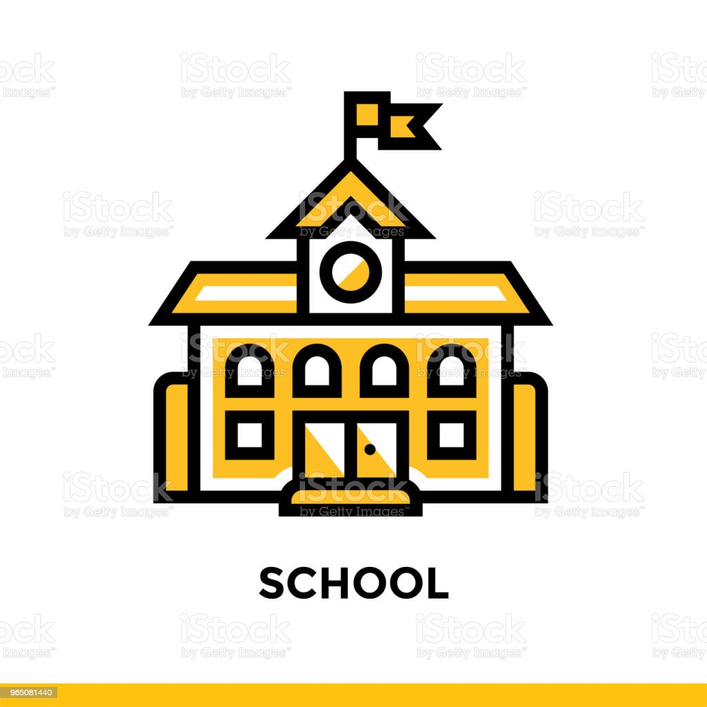 Linear SCHOOL icon. Pictogram in outline style. Vector modern flat design element for mobile application and web design linear school icon pictogram in outline style vector modern flat design element for mobile application and web design - stockowe grafiki wektorowe i więcej obrazów grafika wektorowa royalty-free