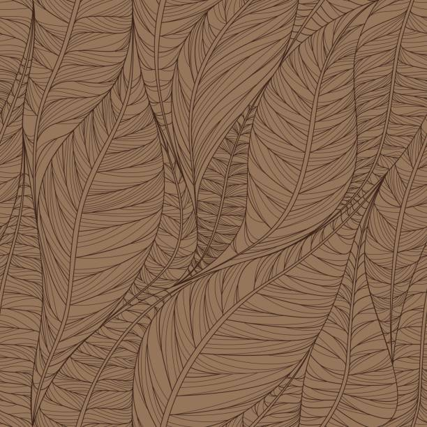 Linear seamless texture on the basis of abstract leaves. vector art illustration
