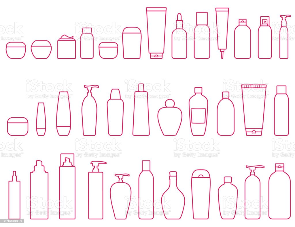 linear set of cosmetic bottle vector art illustration