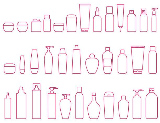 化粧品ボトルの線形セット - スキンケア点のイラスト素材/クリップアート素材/マンガ素材/アイコン素材