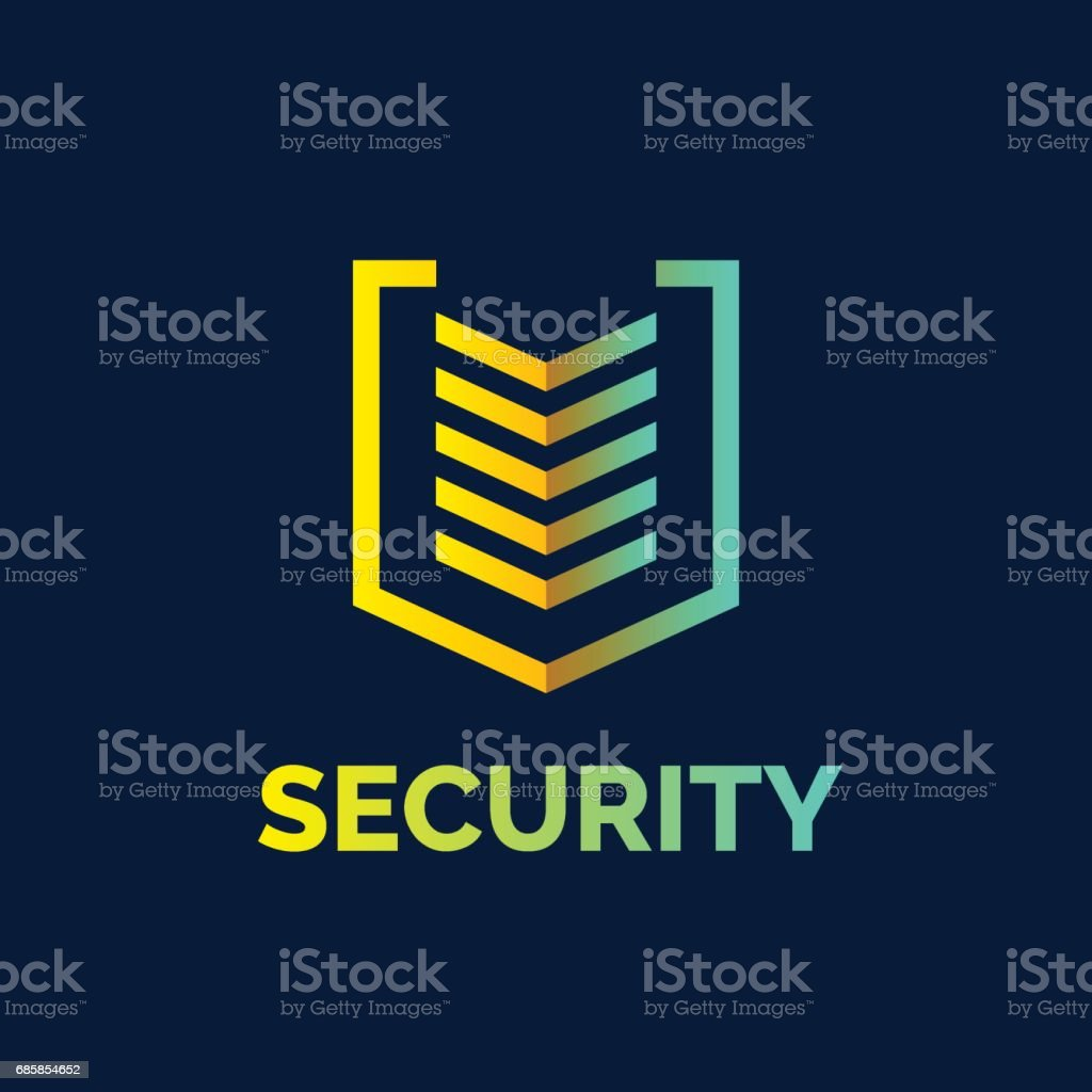 Linear shield, a symbol of security, protection and reliability vector art illustration