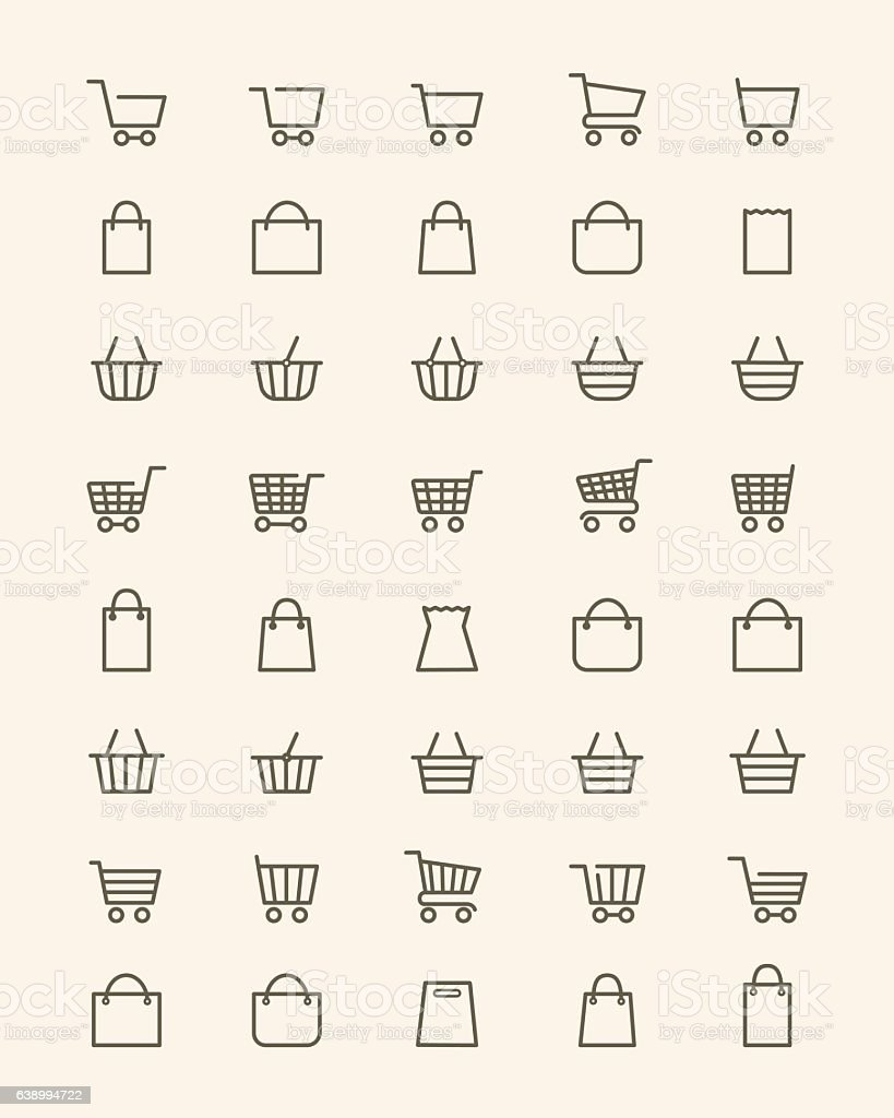 Linear shopping basket icons royalty-free linear shopping basket icons stock illustration - download image now