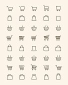 Vector linear shopping basket or line store bag icons for shop and grocery web UI