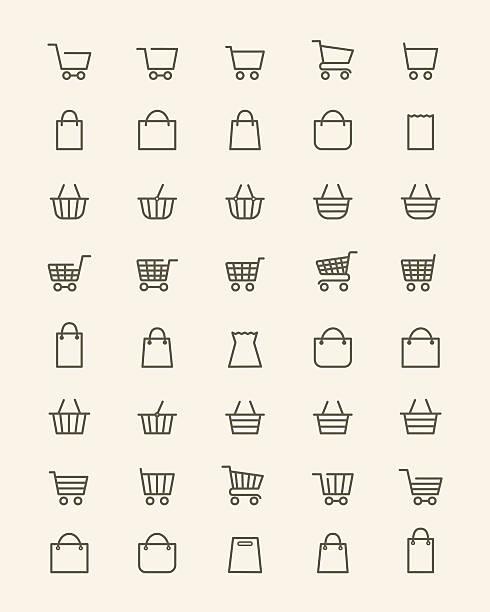 선형 쇼핑 바구니 아이콘 - 바구니 stock illustrations