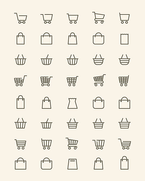 stockillustraties, clipart, cartoons en iconen met linear shopping basket icons - mand