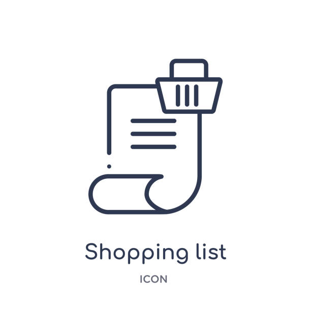 Linear shopping list icon from Ecommerce and payment outline collection. Thin line shopping list vector isolated on white background. shopping list trendy illustration Linear shopping list icon from Ecommerce and payment outline collection. Thin line shopping list vector isolated on white background. shopping list trendy illustration shopping list stock illustrations
