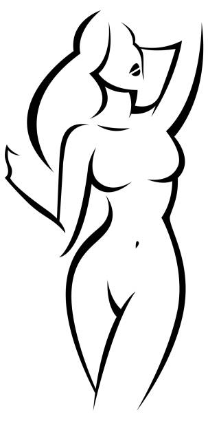 linear silhouette of a nude beautiful woman with long hair - talia tułów stock illustrations