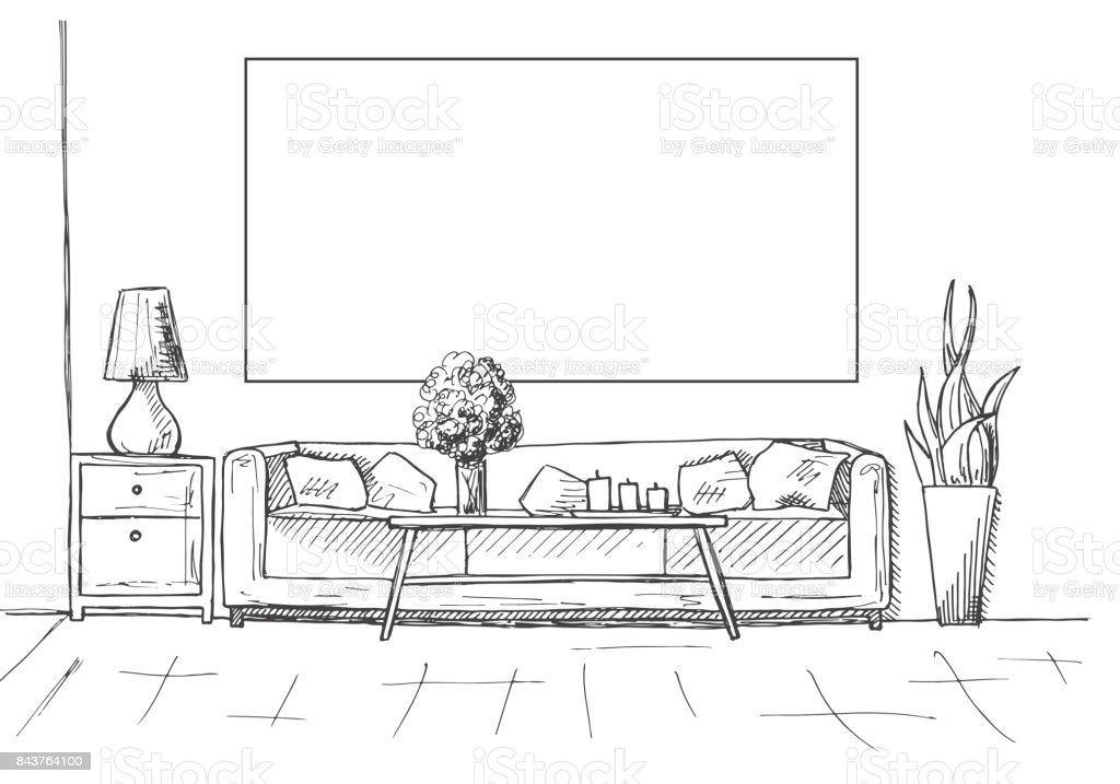 Ilustración de Dibujo Lineal De Un Interior Marco En La Pared Para ...