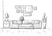 Linear sketch of an interior. Hand drawn vector illustration of a sketch style.