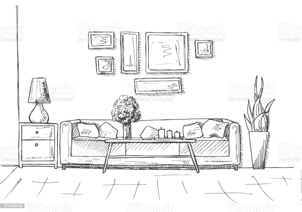 Linear sketch of an interior. Hand drawn vector illustration of a sketch style. vector art illustration