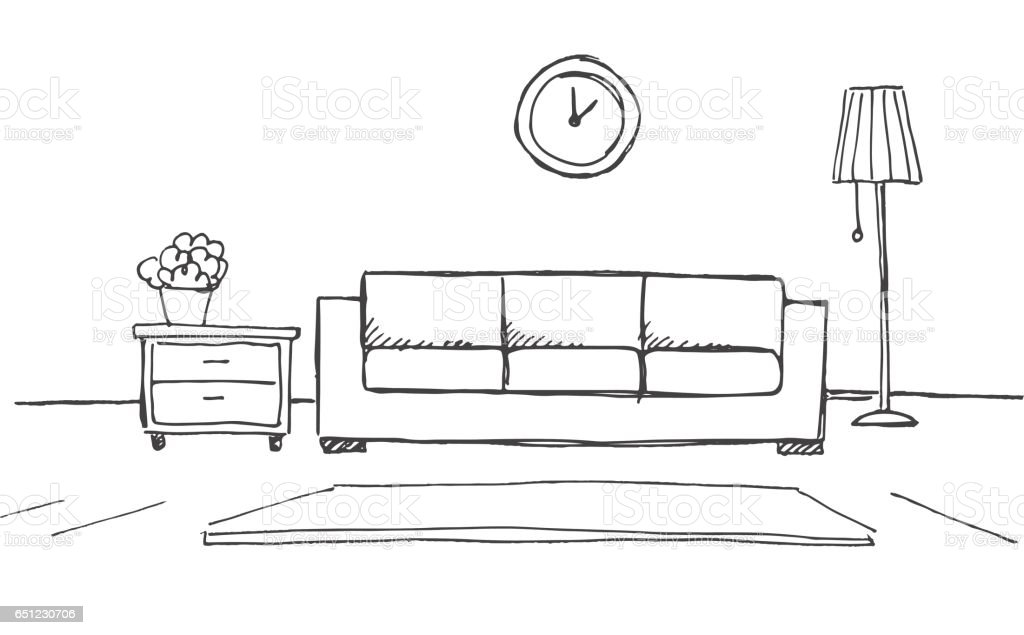 Dibujo lineal de un interior plan de sala ilustraci n de for Sala de estar dibujo